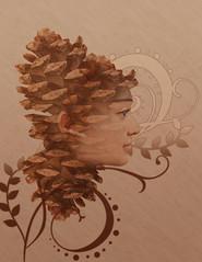 Double Exposure (gracielamedina1) Tags: double exposure pinecone brown twirl gradient
