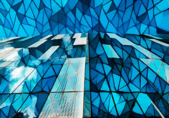Stained Glass Planes and Perspectives (Steve Taylor (Photography)) Tags: stainedglass art abstract digital window newzealand nz southisland canterbury cbd city christchurch lines blue