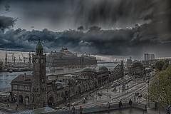 Landungsbrücken Hamburg in the Rain (JokerHH81Photography) Tags: infinitexposure hamburg elbe landungsbrücken regal princess blohm und voss buv dock17