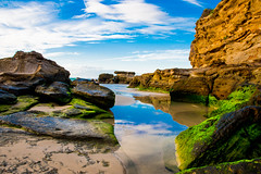 DSC_1949 (tolls381) Tags: beach cavesbeach newcastle morning sunrise goldenhour sand surf colour refelction