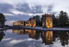 The Doors (Explore #259) (s.f.p.) Tags: temple debod madrid long exposure sunset illuminated exterior nobody famous place egyptian egypt gift religion architecture ancient mirror reflection clouds movement larga exposicion espejo nubes movimiento templo iluminado regalo egipto agua water magic spain europe