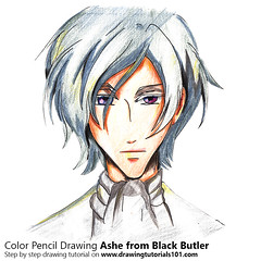 Ashe from Black Butler with Color Pencils [Time Lapse] (drawingtutorials101.com) Tags: ashe black butler kuroshitsuji japanese manga yana toboso sketching pencil sketch sketches draw drawing drawings color coloring how timelapse video