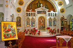 St Nicholas Greek Orthodox Cathedral, Tarpon, Springs, FL (6 of 9) (gg1electrice60) Tags: tarponsprings florida fl pinellascounty northpinellasavenue northpinellasave npinellasave npinellasavenue stnicholasgreekorthodoxcathedral saintnicholas stnicholas orthodox cathedral church catholic christmas christbirth jesusbirth birthday newyears faith religion holydays murals statues paintings crosses chairs tables altar flags banners flowers plants pointsetias
