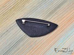 "Brooch ""Africa"" (EvraZhka Studio) Tags: polymerclay polymer clay jewelry jewellery line lines color bordo black strict stripes stripe shine brooch triangular triangle frame lowtemperature enamel"