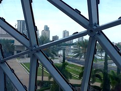 View From Within (ColFineArtistMar1) Tags: museum salvadordali art architecture metal glass city downtown harbour highrise buildings panorama palmtrees garden landscape photograph indoors outdoors view across bay ocean water sailboats marina sky contemporary florida usa