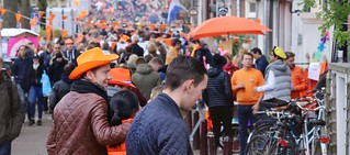 Busy King's Day in Amsterdam