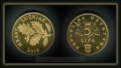 5788 Medallions - coins 5 Lipa Obverse brch of the red oak. Around the edge is written the Croatian name of the plant (HRAST LUŽNJAK). (Morton1905) Tags: 5788 medallions coins 5 lipa republika hrvatska engraver kuzma kovačić hrast lužnjak