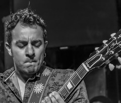 Brazilian Bluesman Artur Menezes (MarcCooper_1950) Tags: blues music musician livemusic monochrome portrait fujifilm xt10 tarzana cadillacsackbluesshow mauisugarmillsaloon brazil brazilian guitar gutarist arturmendezes