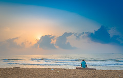 Contemplation (Srini GS) Tags: chennai marina beach sea bayofbengal mychennai boat shores birds