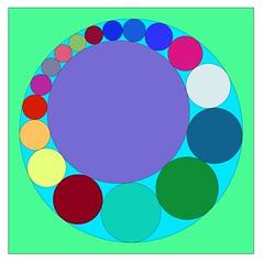 Ring of 17 circles (jbuddenh) Tags: geometric circle square geometry computergenerated packing ring mathematical circlepacking