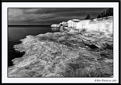 Stoney Point Ice B&W (Ben Podolak) Tags: ice sunrise lakesuperior
