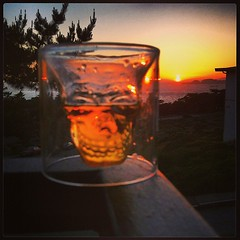 #whiskey #skull #glass #sunset (malcojojo) Tags: square lofi squareformat iphoneography instagramapp uploaded:by=instagram foursquare:venue=4d200a61bdd7a0937970eace