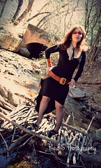 Mistress Fogg (Red 5 Photography) Tags: wood bridge trees nature leaves fashion creek forest river outdoors skull belt sticks woods stream mask branches tunnel jewelry tribal brunette facepaint medicinewoman mistress drainpipe woodbridge fogg steampunk blackdress brownhair wildwoman skullnecklace standingpose foggcouture