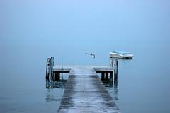 (Johanna Szyg) Tags: blue light sea white lake water beautiful fog way walking evening garda path di late largo sirmione steg gardasee türkis turquise