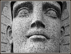Woodlawn Cemetery: Face of Sphinx, Dodge Brothers Mausoleum (B&W)--Detroit MI (pinehurst19475) Tags: city blackandwhite art face cemetery sphinx closeup memorial michigan detroit mausoleum architecturedetail cementerios neoegyptian blackandwhitephotos cimiteri dodgebrothers graveart lloydbrothers dodgebrothersmausoleum