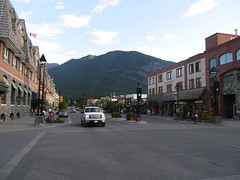 Downtown Banff (geodeos) Tags: street mountain canada building tree nature rock forest scenery downtown structure alberta banff rockymountains banffalberta banffcanada banffalbertacanada