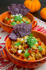 Pumpkin and White Bean Turkey Chili with Kale and Pepita Salsa (Kevin - Closet Cooking) Tags: food white lynch turkey pumpkin photography chili kevin bean salsa cilantro kale chipotle pepita chilie