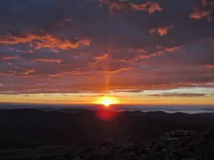 Thin sun pillar (rightthewrong) Tags: new red sun white mountains clouds sunrise washington october mt oct pillar peak nh hampshire presidential mount observatory summit range obs mwo presidentials 2013