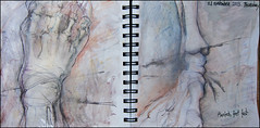 Planted, feet first. 21 november, 2013. (Sharon Frost) Tags: toes paintings drawings bones skeletons ankle sketches sketchbooks journals talus phalanges metatarsals sharonfrost daybooks
