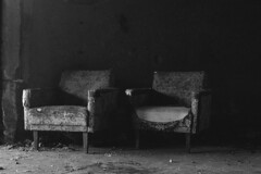 In Waiting 1 (W140) Tags: old blackandwhite black abandoned film monochrome analog photography photo photos sofia furniture picture rusty oldschool retro bulgaria filmcamera agfa ricoh colorslide filmisnotdead ricohsinglextls sofiacity