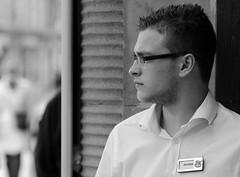Jordan 4 U (Just Ard) Tags: street uk portrait england urban bw white man black shirt photography glasses nikon candid streetphotography 85mm jordan staffordshire stafford phones4u d7000 justard