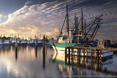 Golden light over the marina (Images by Ann Clarke) Tags: marina sunrise boat fishingboat portlincoln leefilters canon5dmark11 wwwimagesbyannclarkecomau prawnfleet commercilamarina