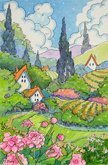 Tucked Away Gardens Storybook Cottage Series (cottagelover1953) Tags: flowers trees house home fairytale farmhouse rural garden countryside cottage retro deco storybook bungalow redroofcottage