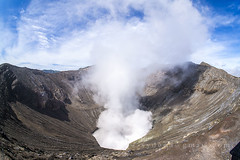 bromo mount crater (sydeen) Tags: park morning travel sky mountain nature fog indonesia landscape island volcano java scenery asia view cone smoke peak steam gas east adventure mount crater ash destination volcanic cloudscape eruption attraction bromo active