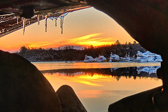 """Framed"", Røyksund - Norway (Vest der ute) Tags: g7x norway rogaland røyksund water winter seascape sea sunrise icicles boats reflections mirror outdoor earlymorning fav25 fav200"