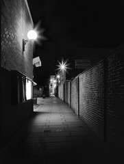 Taunton at night (Hammerhead27) Tags: alley bw blackandwhite uk dark light wall pavement street lane urban town somerset taunton