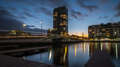 Grand Canal at sunset - Dublin, Ireland - Cityscape photography (Giuseppe Milo (www.pixael.com)) Tags: clouds grandcanal building sunset ireland architecture reflection dublin city cityscape dusk sky water light ringsend countydublin ie onsale