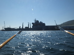 Preparing to keep the peace..... in the spring sunshine... (Sue - happy sparrow) Tags: rfa supportship sunshine rowing portland dorset portlandharbour water ships boats oars