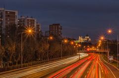 Noches de Madrid. (Amparo Hervella) Tags: madrid españa spain noche nocturna paisaje cityscape estelas largaexposición d7000 nikon nikond7000 comunidadespañola