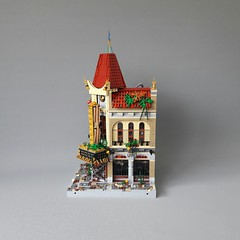 Palace cinema front 3 (Zilmrud) Tags: moc lego steampunk mutant laboratorium lab palace cinema brick bank swebrick ruins san victoria modular house building steam punk