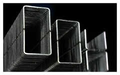 Made of Metal staples {Explored 14 March 2017 } (c.richard) Tags: macromondays madeofmetal staples macro blackwhite reflection