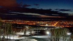 _DSC8400 (Tatiana Ch) Tags: night february winter citylights evening sunset южносахалинск сахалин сопки горы yuzhnosakhalinsk sakhalin hills mountains snow