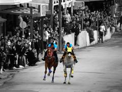 Close Battle (Tassos Giannouris) Tags: horse race kos greece selective colour bw