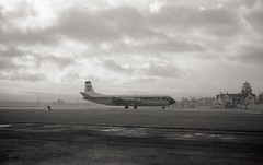 G-APEA. British European Airways Vickers V.951 Vanguard (Ayronautica) Tags: gapea britisheuropeanairways vickersv951vanguard bea turboprop airliner aviation ayronautica prestwick pik egpk november 1961 704 scanned