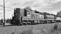 Portland and Western Freight Train Black and White (844steamtrain) Tags: 844steamtrain pnwr 1852 emd sd9 diesel locomotive engine train railroad railway portland western travel tourism adventure events transportation science technology history film flickr flickrelite cliche saturday google youtube photography photo most popular viewed views favorited favorite redbubble metal machine america camera video pacific northwest oregon old black white