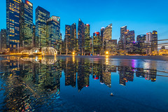 Cityscape Water Reflection (BP Chua) Tags: city cityscape reflection water bluehour sunset lights buildings singapore travel urban landscape nikon 14mm wideangle longexposure d800e puddle ilight marinabay marinabaysingapore blue cbd district commercial building asia asean