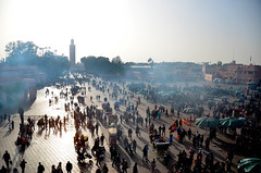 The Evening Crowds Begin In Marrakech (itchypaws) Tags: marrakech marrakechtensiftalhaouz morocco ma koutoubia mosque jemaa elfnaa le grand balcon cafe glacier north africa