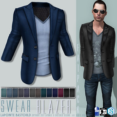 L&B @ TMD: April  Men's Blazer with T-shirt! (Lapointe & Bastchild) Tags: secondlife sl tmd themensdepartment mensfashion fashion men male signature gianni slink physique classicavatar fitmesh fittedmesh meshclothing lapointebastchild swear clothing jacket blazer tshirt vneck tee abstract stripe hipster urban modern