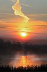 The daily rebirth (Robyn Hooz (away)) Tags: colli euganei vapori thermal hot springs sunrise nuvola cloud traccia sole disk acqua water mirror