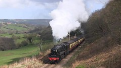 LMS Black Five No.45212 at Green End [NYMR] on 1st April 2017 (soberhill) Tags: nymr northyorkshiremoorsrailway 2017 railway train steam locomotive greenend lms blackfive black5 45212