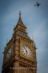 The view from above (jameshowardphotography) Tags: big ben church aeroplane clouds clock london england capital city cityscape time gold blue smoke nikon day afternoon