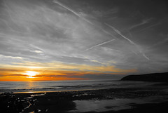 Orangey Grey (Late Breaks Devon) Tags: orangey grey sunset coast north devon croyde bay tide waves coastline rocks rockpools baggy point national trust late breaks