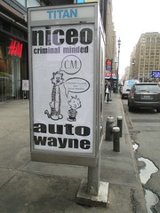 Niceo Wayne Auto Graffiti Art Calvin and Hobbs Comic Strip 4484 (Brechtbug) Tags: niceo wayne auto graffiti calvin hobbs newspaper comic strip characters art posters sidewalk phone booth 7th avenue near 34th street midtown nyc 2017 04172017 new york city profile design films movie funnies sunday papers bill watterson cartoonist tigre kid stuffed tiger st ave streets niceos criminal minded you been blinded guerilla ads cover manhattan culture jamming bombing since 1977 mass appeal reports same funny cartoon news paper cm