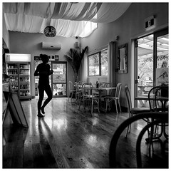 Zeppelin (Mike_Mulcahy) Tags: cafe nakedselfie black white nz newzealand clive hawkesbay zeppelin girl tones