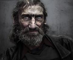 Blue eyes man (Ales Dusa) Tags: people portrait face streetportrait streetshot homeless man blueeyes eyes outdoor canon5d