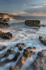 Surf at Sunset (Nick Landells) Tags: sunset sea seascape surf shore rocks rocky sandstone parton whitehaven evening light